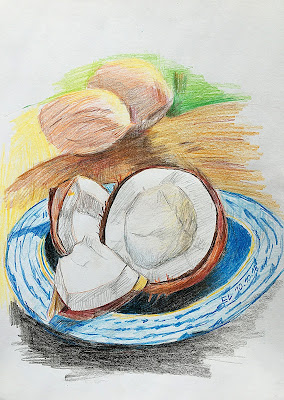 Orzech kokosowy, choinki i kartka