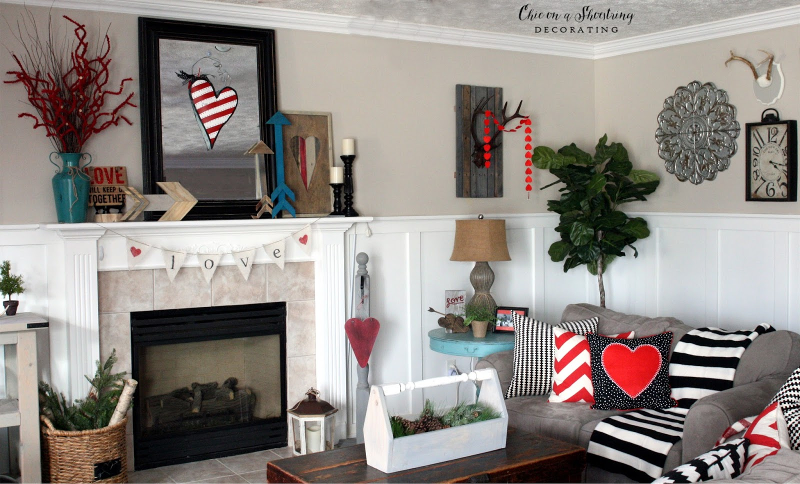 Chic On A Shoestring Decorating: Farmhouse Valentine's Day