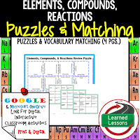 Elements, Compounds, Reactions, Physical Science Puzzles, Physical Science Digital Puzzles, Physical Science Google Classroom, Vocabulary, Test Prep, Unit Review