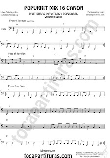 Partitura de Tuba Elicón (o Bajo Metal) Popurrí Mix 16 Partituras de Freere Jacques, Pasa el Batallón, Eram Sam Sam Sheet Music for Tuba Music Scores