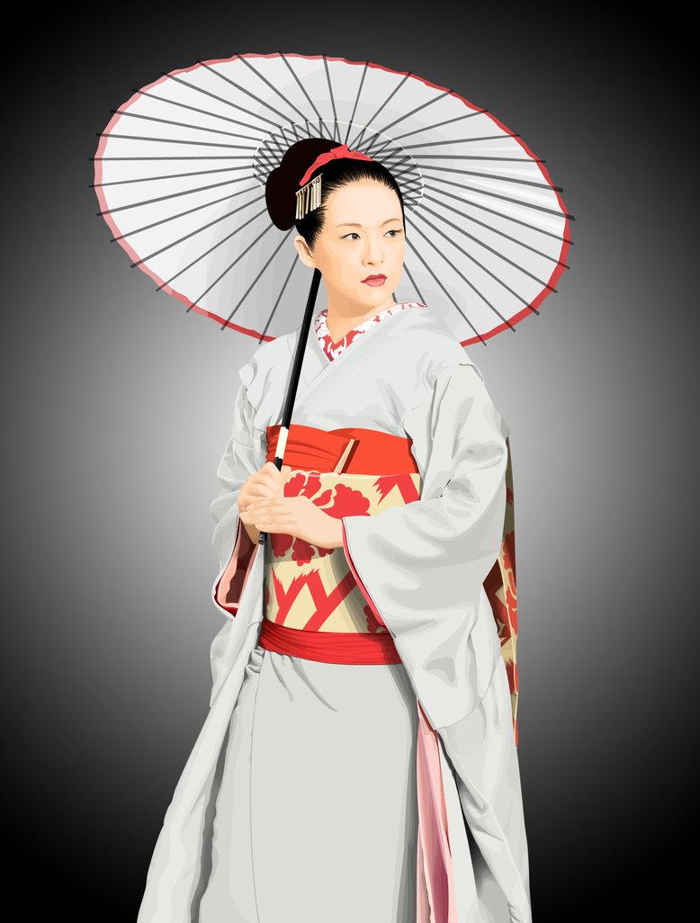 A beautiful geisha with a bbc mh 4