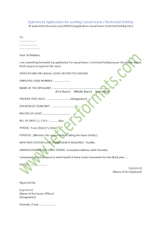 Application for Casual Leave Restricted Holiday sample