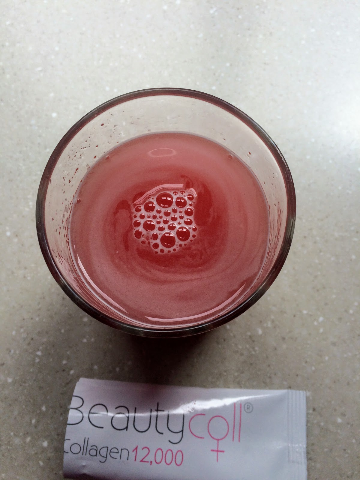 Beautycoll collagen drink with water added fully mixed
