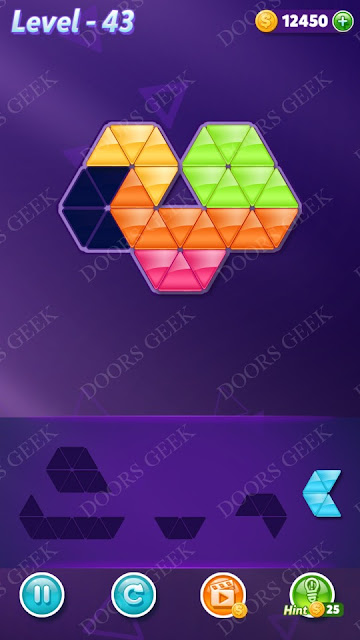 Block! Triangle Puzzle 5 Mania Level 43 Solution, Cheats, Walkthrough for Android, iPhone, iPad and iPod