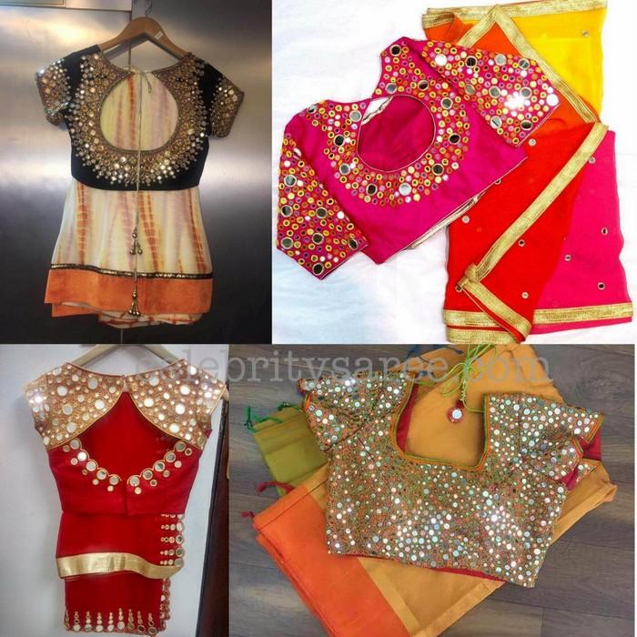 e0184bcb749797 Mirror work Blouses with Simple Saris - Saree Blouse Patterns