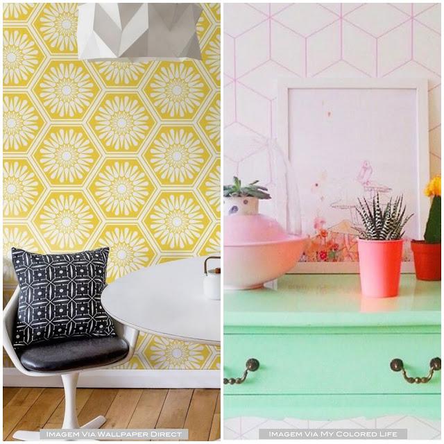 decoração com padrão hexagonal