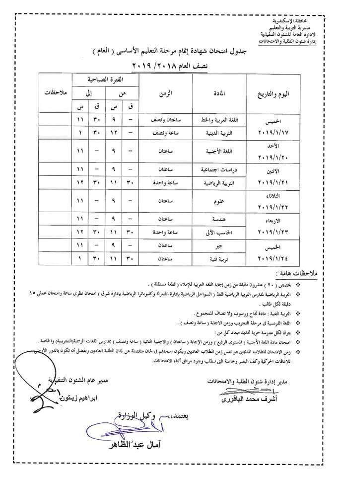 جدول امتحانات الصف الشهادة الاعدادية محافظة الأسكندرية 2019 نصف العام