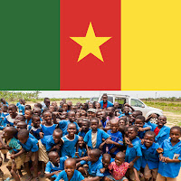 image of Cameroon flag and a photo of young Cameroon gradeschool students laughing