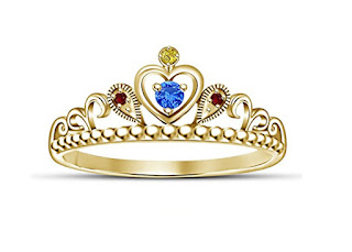 Sterling Silver 14k Gold Plated Princess Crown Ring