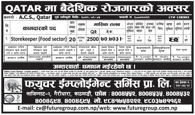 Jobs in Qatar for Nepali, Salary Rs 70,703