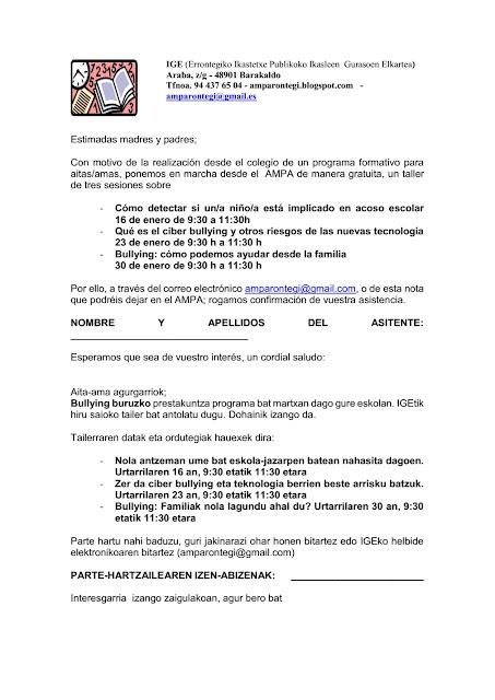 Escuela de padres y madres Ampa rontegui
