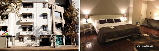 Fachada e apartamento do Mito Casa Hotel, em Santiago do Chile