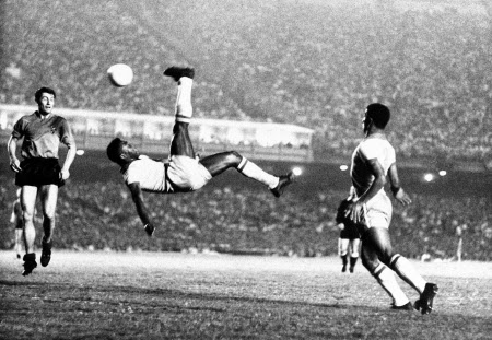 Pelé doing his famous bicycle in a game