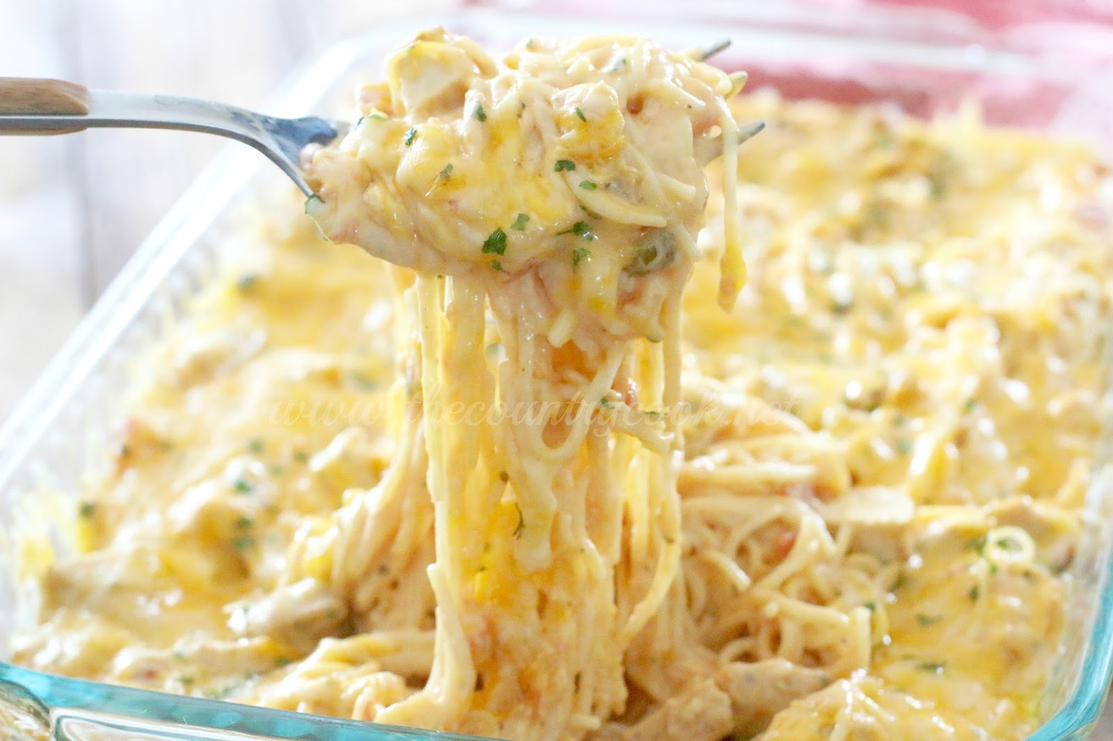 Creamy, Cheesy Chicken Spaghetti - The Country Cook