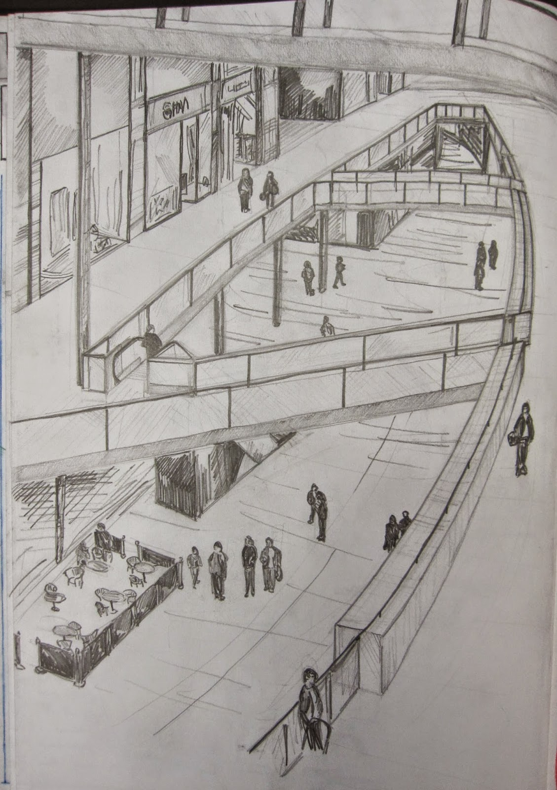 Drawings liverpool one shopping centre pencil drawing