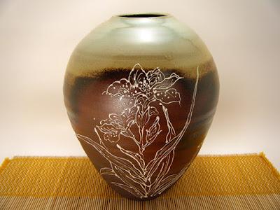 「武州飯能窯」の虎澤英雄氏作の花瓶