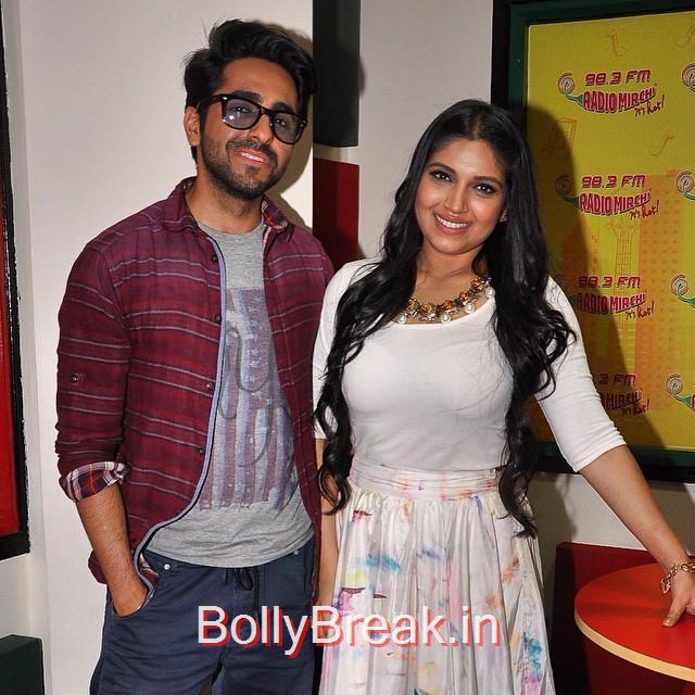 ayushmann khurrana , & bhumi ped ne kar , promote dum lag ake hai sha ,, Hot HD Pics Of Bhumi Pednekar At 'Dum Laga Ke Haisha' Promotions at Radio Mirchi