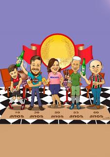 caricatura colorida de turma para convites