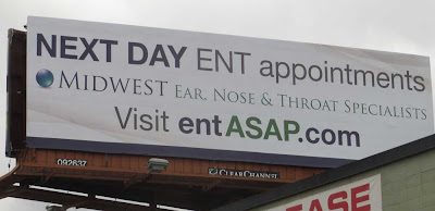 Billboard with headline NEXT DAY ENT appointments