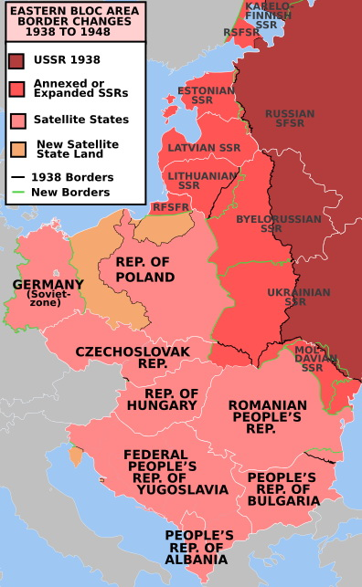 Eastern bloc area border changes 1938 to 1948