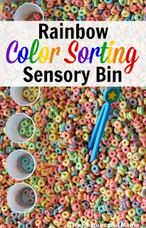 cereal ssensory bin, food play, food sensory bin, color sorting sensory bin, color play