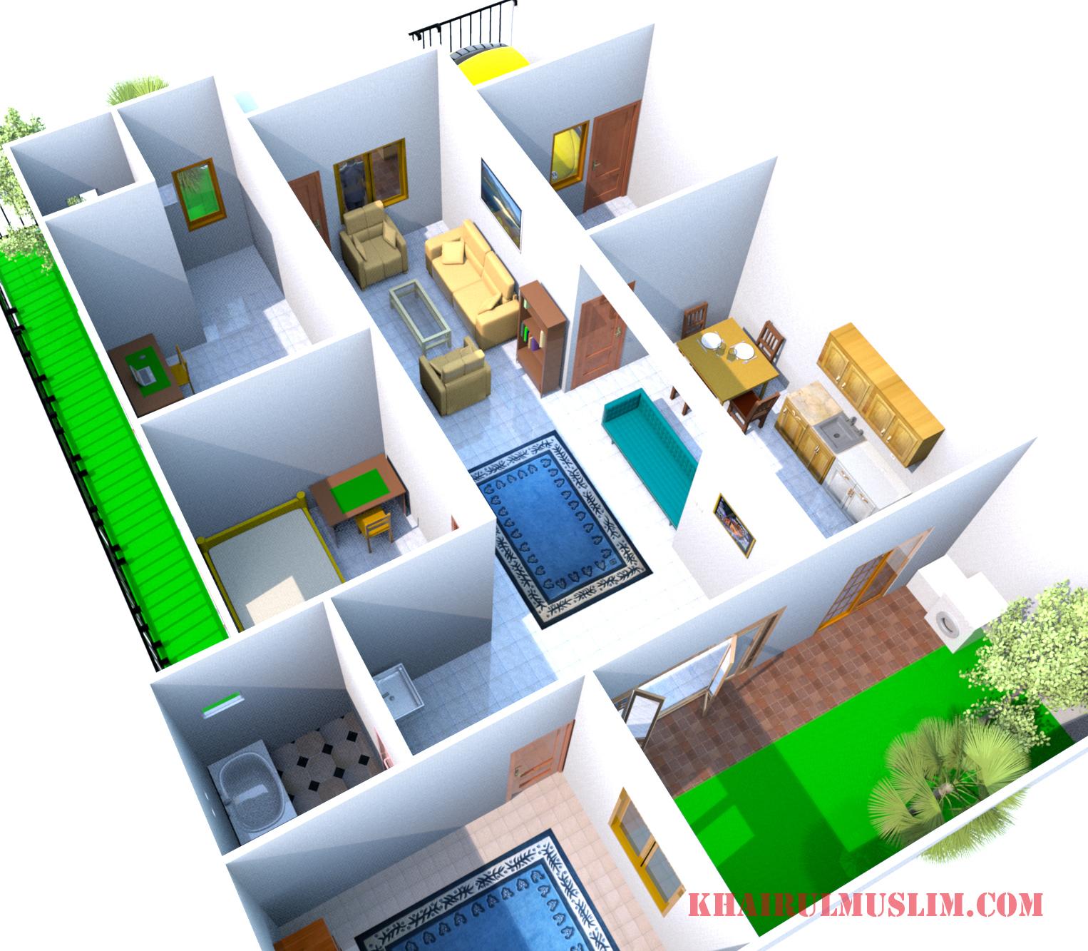 Desain Rumah Pojok 1 Lantai Lahan 10 X 15 M Luas Bangunan 90 M Khairul Muslim Com