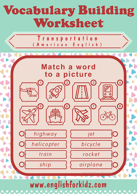 Vocabulary matching transportation worksheet