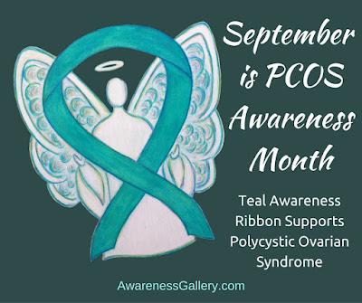 Teal Ribbon Angel Art for September is PCOS Awareness Month