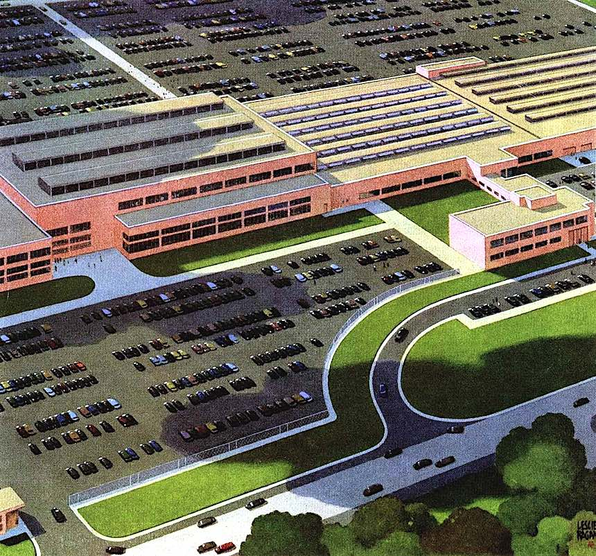 a Leslie Ragan factory illustration, birdseye view