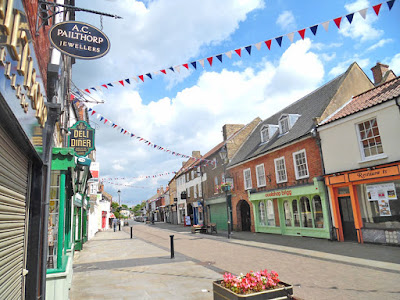 Colouful bunting in Brigg town centre 2018