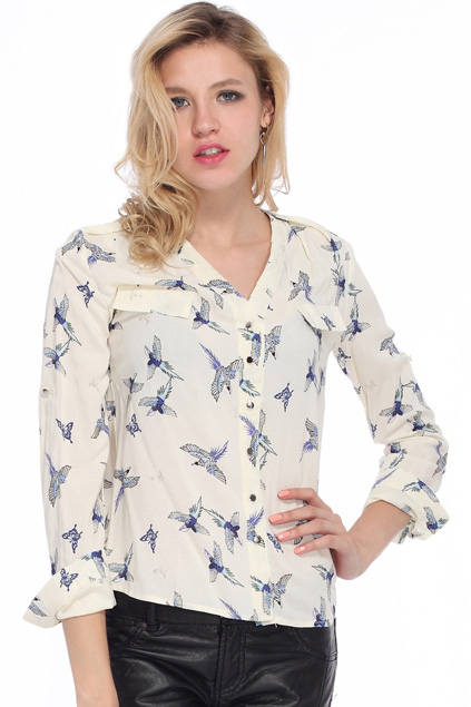 Birds Pattern Printed Beige Shirt