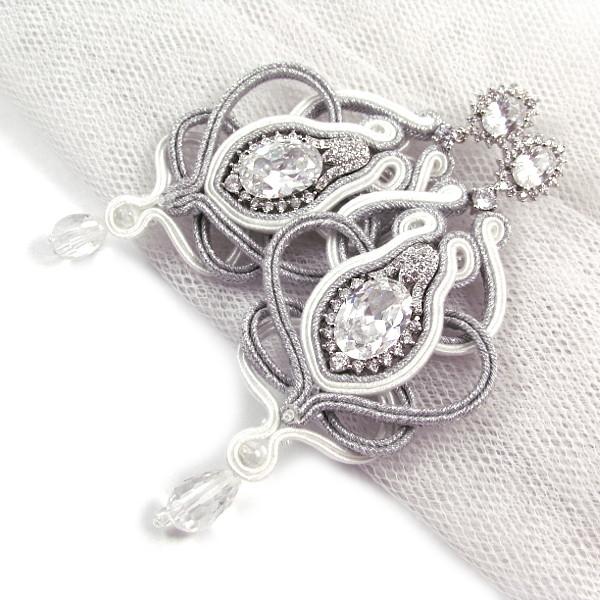 Kolczyki ślubne sutasz z kryształami Swarovski