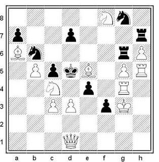 Problema de mate en 2 compuesto por Gérard Doukhan (3º Premio, Problemas 1976-77, Jubile Argüelles)
