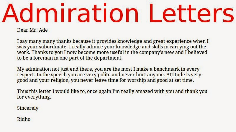 Admiration Letters ~ samples business letters - Admiration Letter