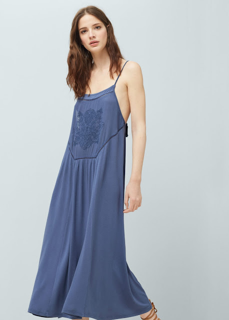 mango blue strappy dress, blue embroidered strappy dress,
