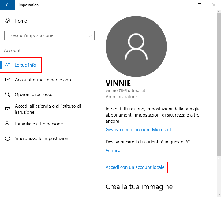 Accedere a windows 10 con account locale non microsoft for Trova un costruttore locale