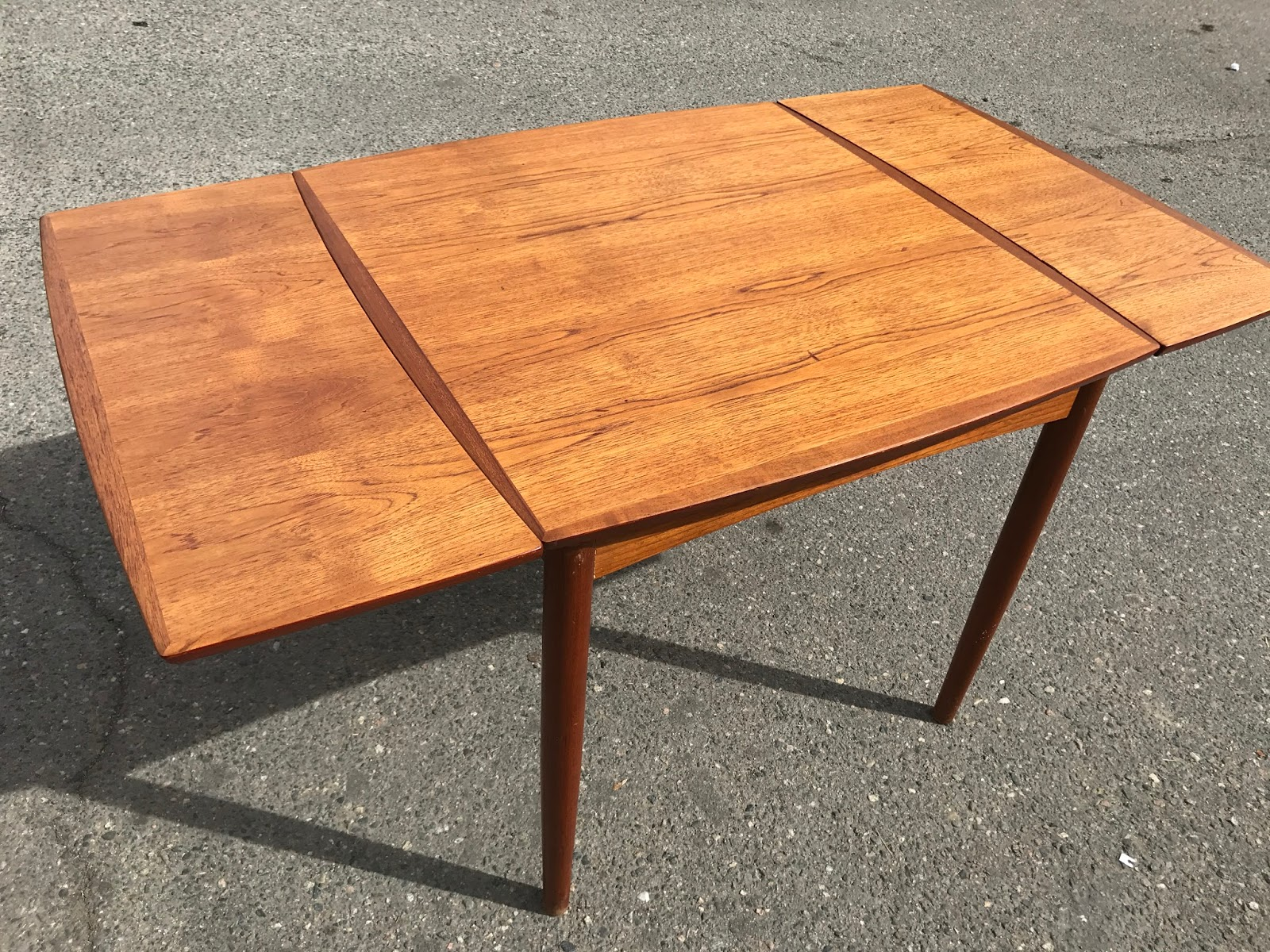 Danish Teak Mid Century Table By IDG   2 Leaves   SOLD