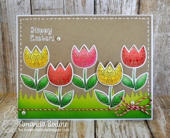 Easter Card with Tulips  by Amanda Bodine | Beautiful Spring Stamp Set by Newton's Nook Designs