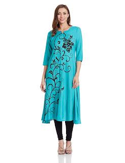 Teal color Synthetic Shree Kurta by FashionDiya