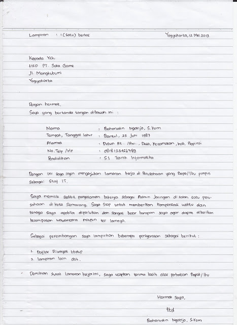 Koleksi Gambar Terbaru 7 Kertas Folio Bergaris Contoh Surat Lamaran Kerja Tulis Tangan