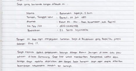 situsmedia contoh surat lamaran kerja tulis tangan yang