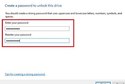 Enter password in bitlocker