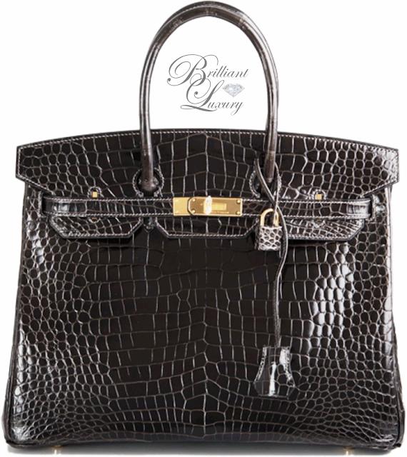 Brilliant Luxury ♦ HermèsBlack Graphite Porosus Birkin Bag