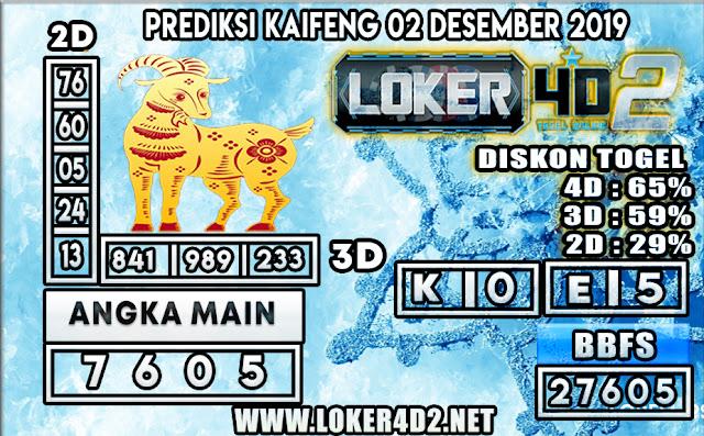 PREDIKSI TOGEL KAIFENG POOLS LOKER4D2 02 DESEMBER  2019