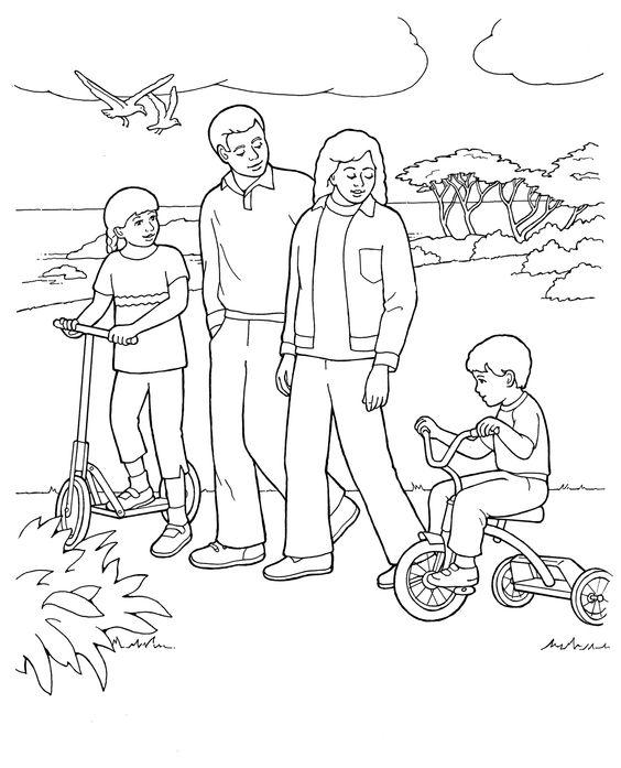 Tranh tô màu gia đình đi dạo công viên