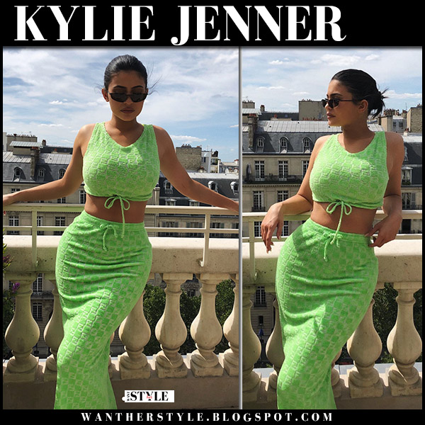 Kylie Jenner in green crop top and green skirt fendi summer style june 22