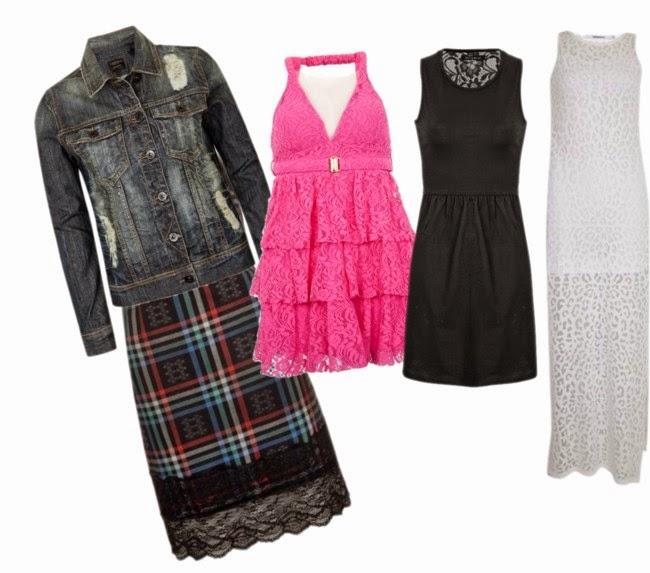 Vestidos de renda, jaqueta jeans, moda feminina