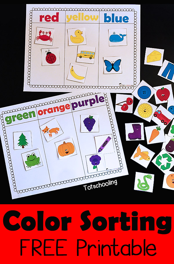 Color Sorting Printable Activity | Totschooling - Toddler ...