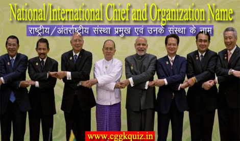 gk quiz hindi: indian chief/officers name and related entity department, institutions name with all commission, country president, pm, ministers, organization, chairman, general secretary, managing director, board, corporation, banks association online objective questions with answers pdf.