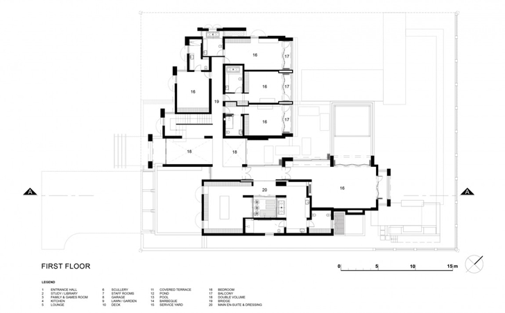 First floor plan of Contemporary Villa by SAOTA